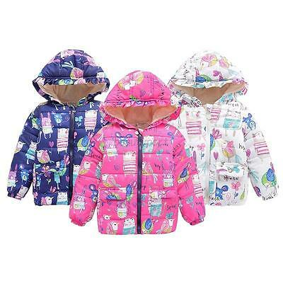 2-7Y Toddler Baby Girl Kids Winter Coat Clothes Floral Boy Hooded Jacket Outwear