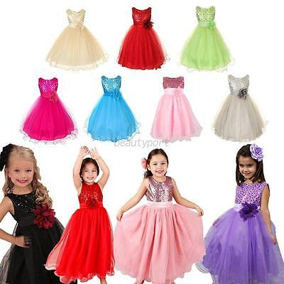 3-10Y Kids Girl Princess Wedding Party Formal Birthday Tulle Tutu Flower Dress