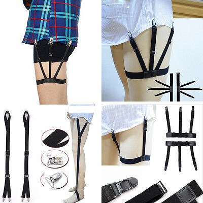 1pcs Elastic Anti-slip Clamp Shirt Stays Holder Leather Garter Men's Nylon Clip