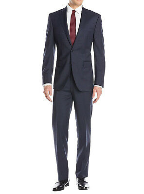 Luciano Natazzi Mens 2 Button Birdseye Two Piece Suit Modern Fit Jacket Pant