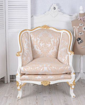 vintage sessel barock weiss gold barockstuhl bergere armlehnstuhl barocksessel eur 299 00. Black Bedroom Furniture Sets. Home Design Ideas