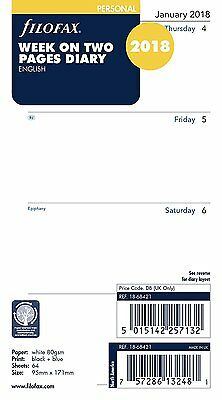Filofax 2018 Refill - Personal, Week on Two Pages, English (18-68421) Free Post