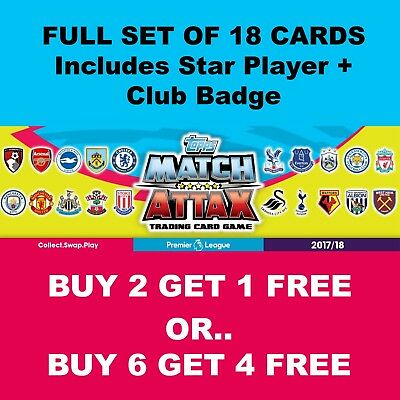Match Attax 2017 2018 17 18 Base Team Set 18 Cards Foils + Away Kit