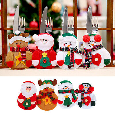 Christmas 4pcs Santa Snowman Elk Knife Fork Bag Dinner Tableware Cutlery Holders