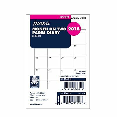 Filofax 2018 Refill - Pocket, Month on Two Pages, English (18-68210) Free Post