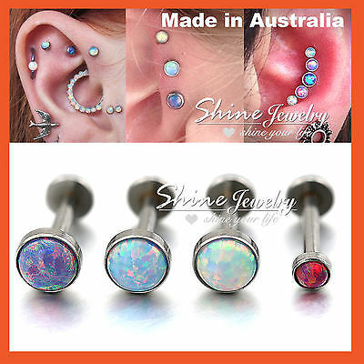 Opal Stud Thread Ring Bar Labret Lip Ear Earrings Nose Helix Tragus Piercing 1PC