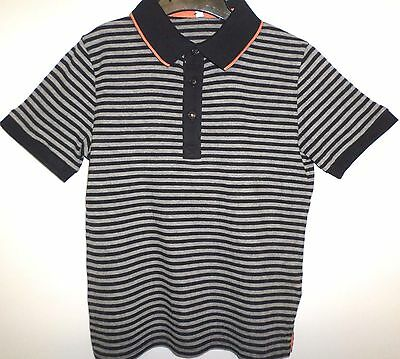 New Boys Striped Polo Shirt Black Grey Mix Marks & Spencer Super Soft