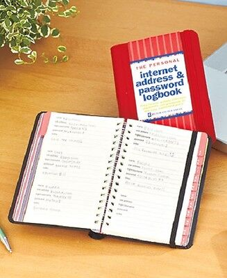 Personal Internet Address & Password Log Book Pick Red Free Shipping Great Gift