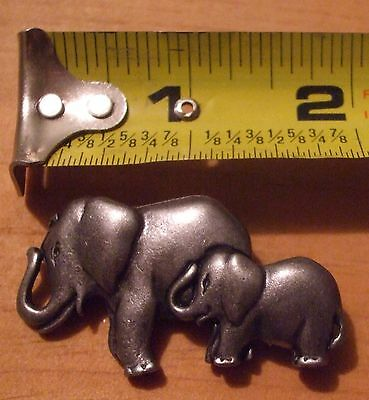 ELEPHANT>> MOTHER AND BABY >>  PEWTER PIN ... Good Luck .. Animal Conserve.. :)