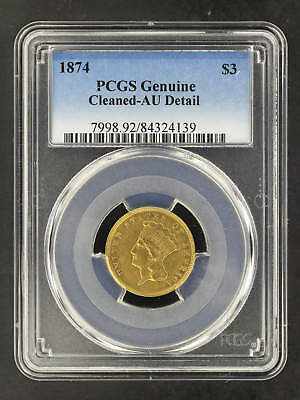 1874 $3 Gold Indian Princess PCGS AU Details Cleaned -162173