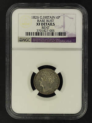 1826 Great Britain Silver 6 Pence Bare Bust NGC XF Details Bent -162053