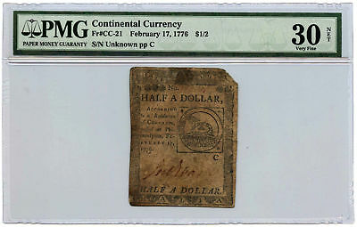 February 17, 1776 $1/2 Continental Currency PMG VF-30 NET Fr #CC-21