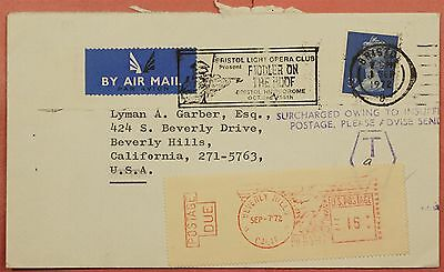 1972 Gb Airmail Slogan Opera Fiddler On The Roof Bristol To Usa Postage Due