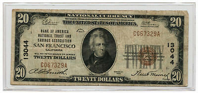 1929 $20 Ty1 Bank of America National Trust & Savings Assoc San Francisco #13044