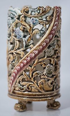 Beautiful Antique Majolica Floral Footed Vase, Excellent Condition & NICE!