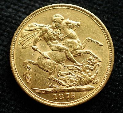 1876   GOLD SOVEREIGN COIN   VICTORIA  YOUNG  Mint London