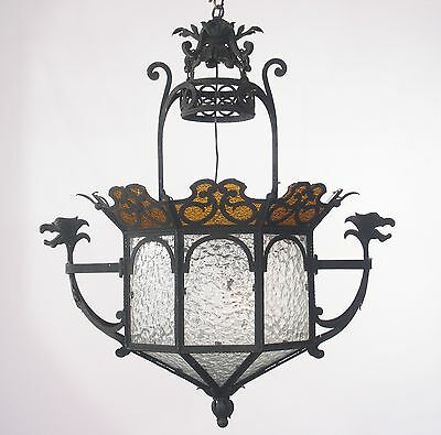 Antique Spanish Black Wrought Iron Lantern with Dragons