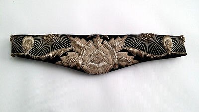 ELEGANT Vintage 1950's Black Velvet & Silver STUMPWORK  Belt - ART DECO DESIGN