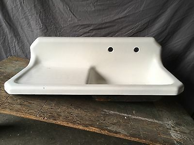 "Vtg 42"" Cast Iron White Porcelain Kitchen Farmhouse Sink Old Plumbing 645-17E"
