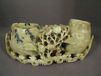 Vintage Antique Chinese Flower Carved Soapstone Brush Washer