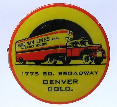 early 50's FORD VAN LINES MOVERS Denver COLORADO celluloid tape measure *