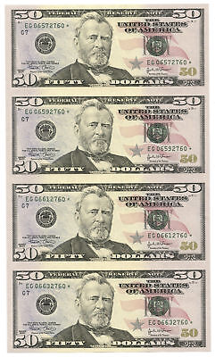 Uncut Sheet of 4 Series 2004 $50 Bills Federal Reserve Star Notes Chicago, IL