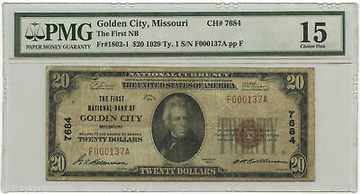 1929 $20 Banknote Ty 1 The First NB of Golden City, MO PMG Choice F-15 CH #7684
