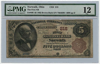 1882 $5 Brown Back The First National Bank of Norwalk PMG F 12 Ch #215 Rare!