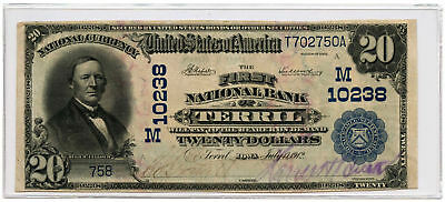 1902 $20 Banknote Date Back The First NB of Terril, IA Ch #10238