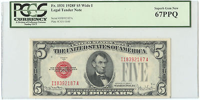 1928F Wide I $5 United States Legal Tender Note PCGS Superb Gem New 67PPQ