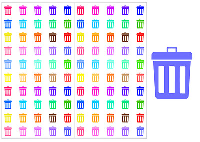 2 Sheet Pack of Garbage Cans Planner Stickers, ST#012