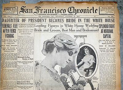 1913 New York Newspaper Front Page - Woodrow Wilson White House Wedding