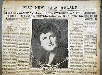 1915 New York Newspaper Front Page - President Wilson Engaged To Edith Galt