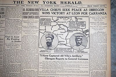 1915 New York Newspaper Front Page - Pancho Villa Seeks Peace With Obregon