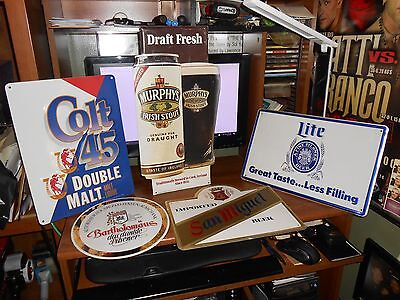 LOT OF 5 VINTAGE BEER SIGNS 4 FROM 80s 1 FROM 90s /GOOD FOR AGE COLT 45 FREE SH!