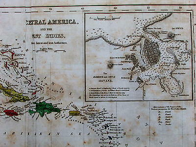 Central America Mexico West Indies Havana Cuba Kingston c.1850 rare Copley map