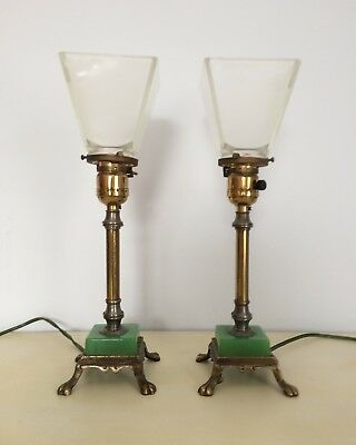 """Pair of antique brass/nickel dresser lamps with jadite and brass base 14"""" high"""
