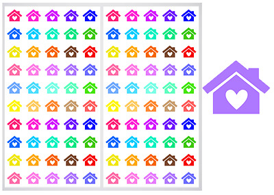 2 Sheet Pack of Houses with Hearts Planner Stickers, ST#014