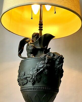 Rare Wedgwood Black Basalt Wine Ewer Lamp