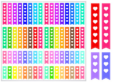 2 Sheet Pack of Heart Checklist Planner Stickers, ST#023