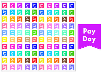 2 Sheet Pack of Pay Day Planner Stickers, ST#028
