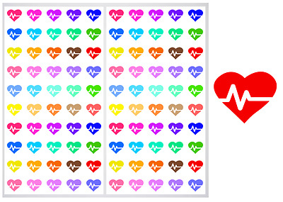 2 Sheet Pack of Cardio Hearts Planner Stickers, ST#032