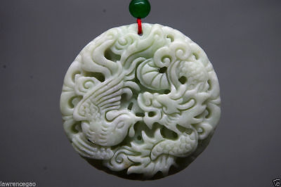 Details about  Chinese natural jade fine carved Dragon phoenix jade pendant