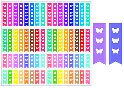 2 Sheet Pack of Butterfly Checklist Planner Stickers, ST#051