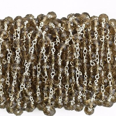 10yds SMOKE GREY Crystal Rosary Chain silver double 8mm rondelle fch0737b