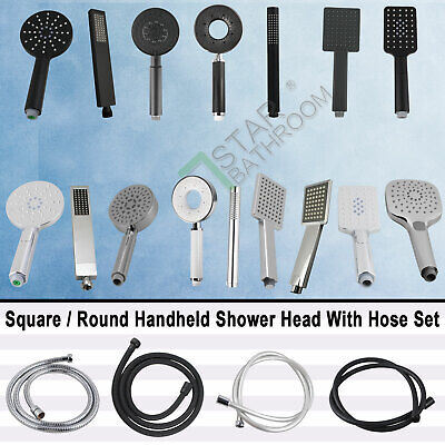 Bath Square/Round Massage Hand Held Shower Spray Head & Hose Set Multi Function