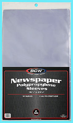 "50 BCW 16X24 NEWSPAPER STORAGE SLEEVES 2 MIL Art Photo Print 16-1/4"" x 24-1/8"""