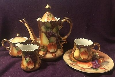 Lefton Fruit w/ Gold Trim Teapot/ Creamer/ Sugar/ Plate/ Cup