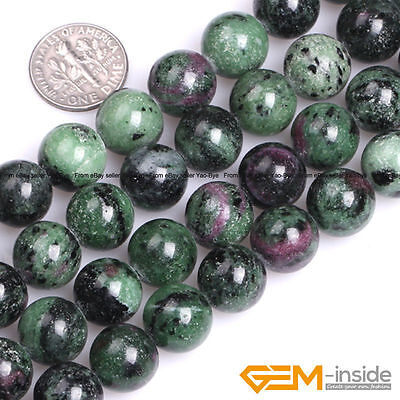 "Natural Stone Ruby Zoisite Round Loose Beads For Jewelry Making Strand 15"" YB"