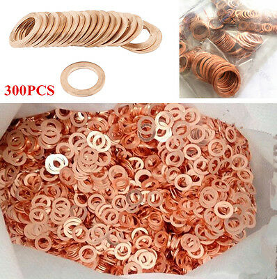 300Pcs 12Kinds Mixed Auto Car SUV Truck Copper Washers Seal Flat Ring Gasket Kit